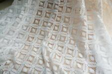 Off White Hollow Circle Lace Fabric Wedding Floral Embroidery Corded Fabric 1YD