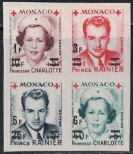 MonacoSC288-291bPrinceRainier&PrinceessCharlotte-BlkOf4/OverPrt.RedCrossBarsBlk.