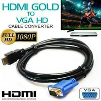 1.8 M HDMI Male to VGA Video Converter Adapter Cable DVD 1080P For PC Cord N5R9