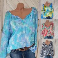 Womens Long Sleeve Boho Floral T-Shirt Summer Ladies Casual Blouse Shirts Tops