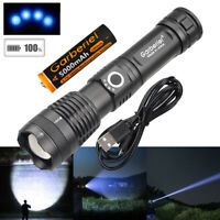 990000LM Zoomable XHP50 LED USB Rechargeable 18650 Super Bright Flashlight Torch