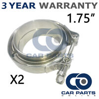 """2X V-BAND CLAMP + FLANGES ALL STAINLESS STEEL EXHAUST TURBO HOSE 1.75"""" 45mm"""