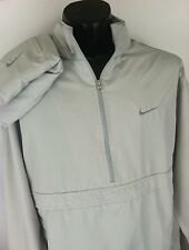 Nike Air Mens Tracksuit Gray Striped Pull Over Weather Proof Hood L 1/2 Zip Up
