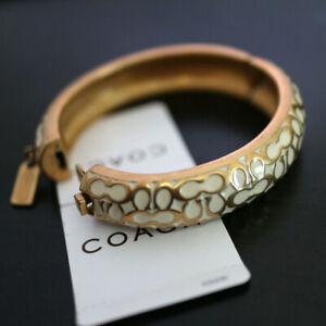 """NWT COACH Gold/Off white 1/2"""" Miranda Signature Hinged BANGLE Bracelet NEW"""