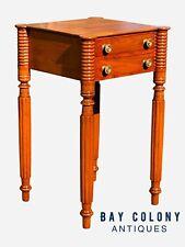 19TH C ANTIQUE SHERATON TURRET CORNER MAHOGANY WORK TABLE / NIGHT STAND