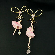 Boucles d'Oreilles Clous Email Noeud Papillon Dancing Girl Email Rose Fin  L6