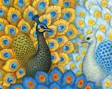 grafitec imprimé tapisserie / toile de Tapisserie à l'aiguille – exotique paons