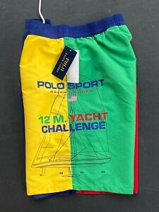 Polo Ralph Lauren Men S M Color block Polo Sport Yacht Challenge Swim Shorts NEW