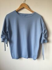 NEXT UK12 Eur40 Pale Blue Knitted Top Gathered Short Sleeve Minimal Modern