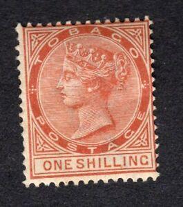 Tobago QV 1896 1s Orange Brown Wmk Crown CA P14 MM SG24c SGCat £30.00