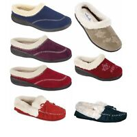 LADIES WOMENS Memory Foam slippers rubber outdoor sole NAVY TAUPE FLORAL BOXED