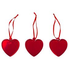 "Ikea New VINTERFEST Hanging decoration, glass, heart red, 2 ½ "" Valentine's Day"