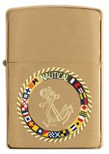 ZIPPO LIGHTER BRUSHED BRASS SIGNAL FLAG (93128) GIFT BOXED - AU STOCK !