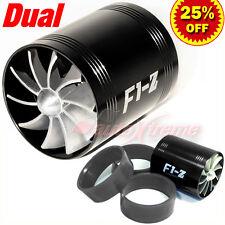 "64-74mm 2.5""-2.9"" TURBO CHARGER AIR INTAKE TURBONATOR DUAL Fuel Saver Fan BLACK"