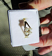 14K Solid Yellow Gold Cultured Pearl & Diamond Ring Cluster Size 7.5
