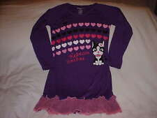 REBECCA BONBON Youth Girls Purple Pink Hearts Dog Ruffle Nightgown MEDIUM 7 / 8