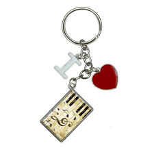 Vintage Piano with Treble Clef and Music Notes I Heart Love Keychain Key Ring