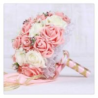 Wedding Bouquet Artificial Rose Flower Ribbon Bridesmaid Toss Bouquet Hand Made