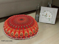 "Red Peacock Mandala Floor Pillow Round Meditation Cushion Cover 82 Cm (32"")"