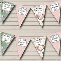Pink Green Shabby Chic Floral Personalised Birthday Party Bunting Banner Garland