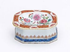 ANTIQUE CHINESE FAMILLE ROSE PORCELAIN TRENCHER SALT 18TH C