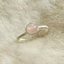 Rose Quartz Sterling Silver Wire Wrap SimpleRing Pink Handmade Size Large