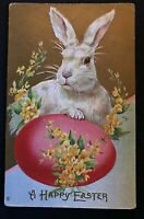 ~Cute~Bunny Rabbit with  Flowers~Egg~ Antique~Easter Postcard-b29