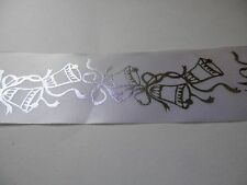 48mm ribbon, white with silver bells x10 m