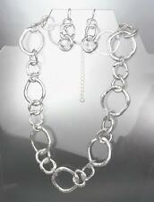 UNIQUE Satin Brushed Silver Organic Metal Rings Necklace Earrings Set