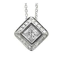 1.00 F SI PRINCESS CUT DIAMOND SOLITAIRE PENDANT 14k WG