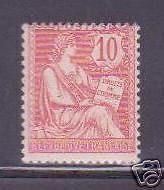 "FRANCE 1902 Y&T 124 ""MOUCHON 10c ROSE"" NEUF xx TTB"
