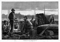 LUMBERJACKS SMOKING PIPES AND RIDING ON LUMBER RAFT, CAMPFIRE, AX, CANOE PADDLES