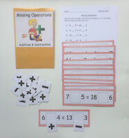Teacher Made Math Center Resource Game Addition Subtraction Missing Operations
