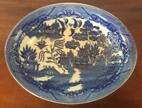 "Vintage Blue Willow Oval Serving Bowl Made in Japan Transferware 10 1/4""x 7 3/4"""