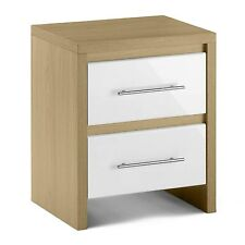 Julian Bowen Stockholm 2 Drawer Bedside Chest in Chunky Oak and White High Gloss