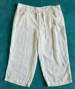 London Jean 100% linen white size 12 straight wide leg pockets women capri pants