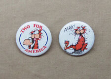 """Bill n Opus 'Two for America' & Bill The Cat Button Set 1.25"""" Bloom County Vote"""
