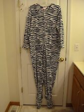 Women's Sweet Tart Zebra Footed Flannel One Piece Zipper Front Pajamas  Size XL
