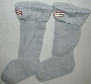 Hunter Metallic Glitter Silver Cuffed Cuff Boot Socks Liners One Size Never Worn
