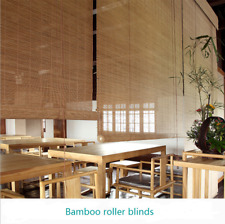 Window Shade Bamboo Light Brown Slat Roll Up Blind Rustic Natural Sun Filtering