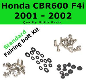 Fasteners Black Standard Motorcycle Fairing Bolt Kit For Honda CBR600F4i 2001-2003 Body Screws and Hardware
