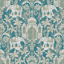 G67356 - Indo Chic Elephant Taj Mahal Teal Silver Turquoise Galerie Wallpaper