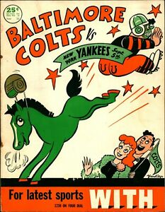 1948 Football Program Baltimore Colts vs New York Yankees Y A TITTLE 1st Game