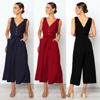 Women's Wide Leg Jumpsuit Sleeveless Casual Pocket Ladies Romper Office Overalls