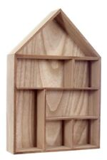 Wall Storage Unit Cube Display Shelf Natural Wood House Shape 7 Compartment Home