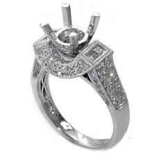 1.00 TCW Round & Princess Diamonds Engagement Ring Semi Mount Setting 18K Gold