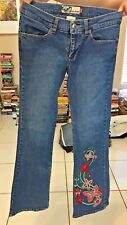 ROXY BLUE JEANS EMBROIDERED BUTTERFLIES SIZE 1 98% COTTON FLARE
