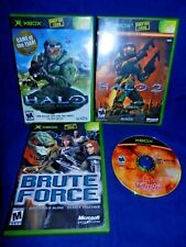 Lot of 4 Xbox;Halo Combat Evolved,Brute Force,Halo 2, All w/ Man, Wolfenstein,Vg