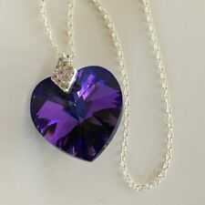 Swarovski Elements Necklace Pendant Crystal Heart Jewellery Purple Silver Gift