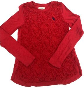 NEW ABERCROMBIE Kids Girl Beautiful LACE Red  Shirt -  Size  11/12